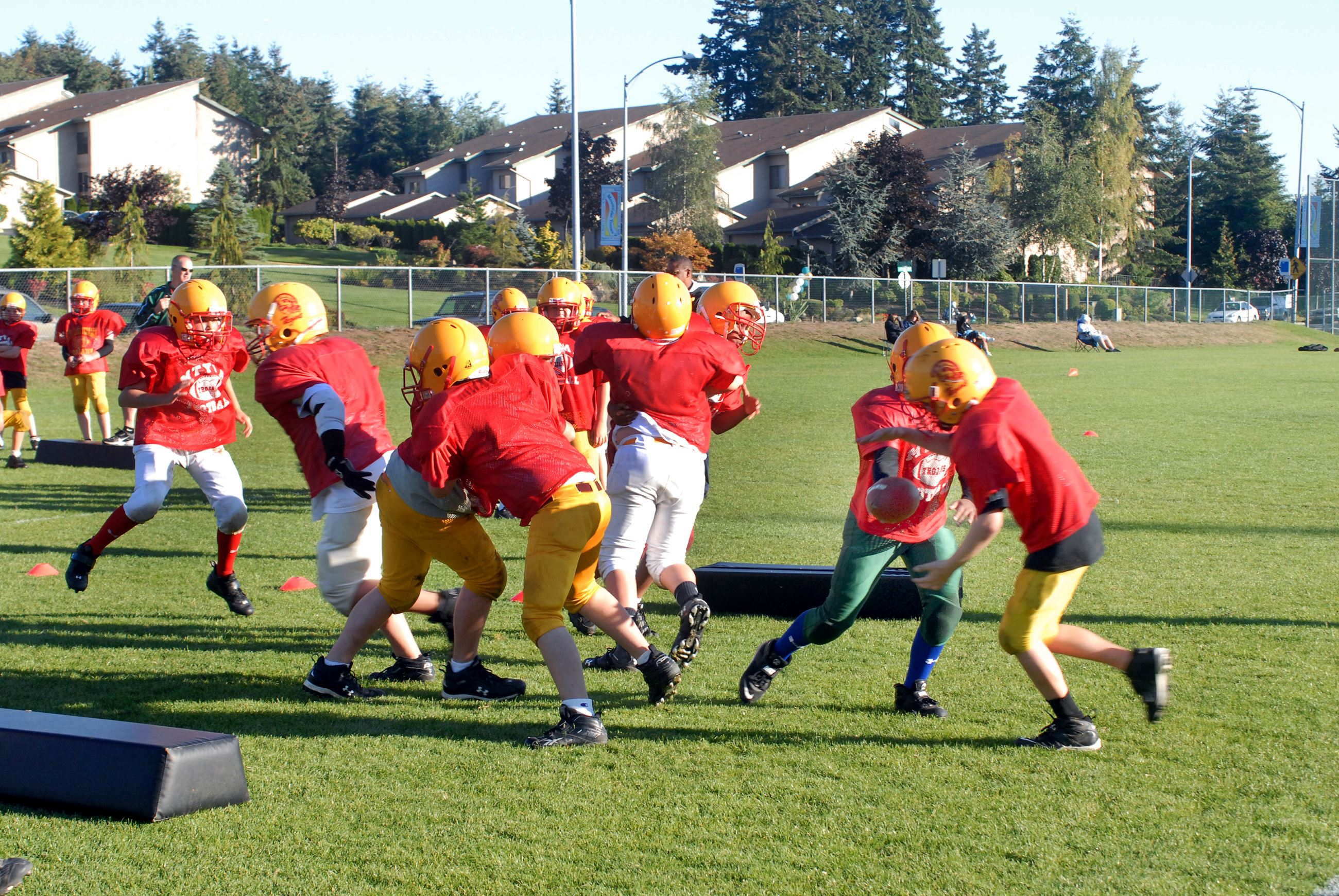Football practice at Ballinger Playfield